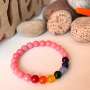 Jewelry - Adjustable stone bracelet from India - Pink Jade